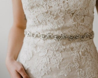 Rhinestone Bridal Sash Belt | Crystal Bridal Sash | Wedding Dress Sash | Silver Azalea Sash