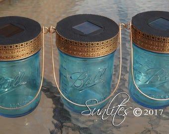 Solar Light - Copper Lid & Hanger - Blue or Clear Wide Mouth Mason Jar