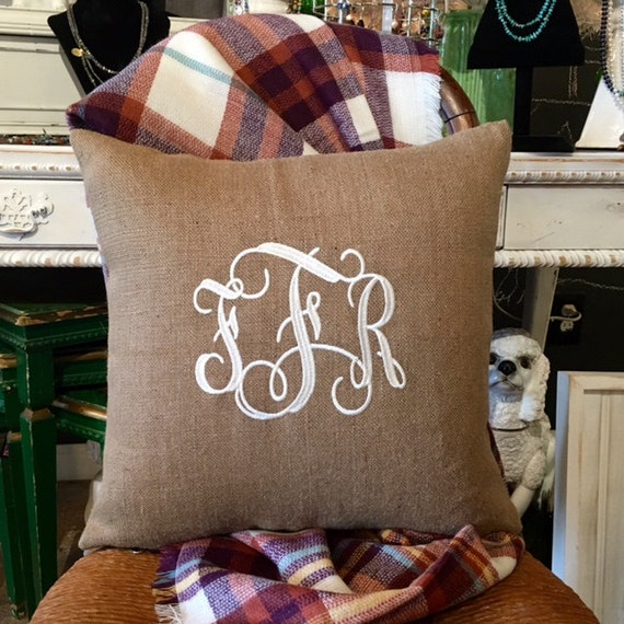 Monogrammed Pillow, Burlap Pillow, Monogrammed Throw Pillow Cover, Wedding Gifts, Bridal Shower Gifts, Country Home Decor, Burlap Decor