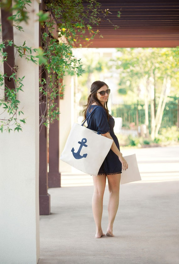 Anchor Tote Canvas Beach Tote Navy Anchor Monogrammed Bag Overnight Bag Travel Bag Bridesmaids Gifts Weddings Personalized Highway12Designs