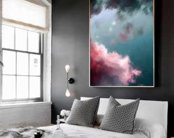 Cloud Painting, Abstract Art Print, Abstract Giclee, Green + Pink, Modern Art Abstract, Minimalist Painting, Abstract Expressionist Art