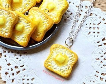 Handmade buttered toast necklace food necklace food jewelry realistic delicious toast bread necklace cute fun kawaii novelty gift for women