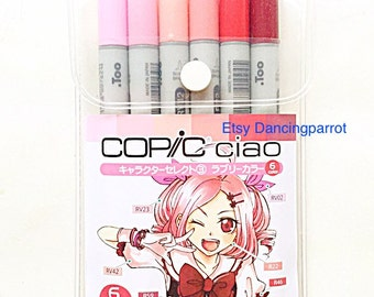 Copic Ciao Set,Copic markers,Copic red pink markers,Copic marker set,Copic Ciao RV02 RV23 RV42 R22 R46 R59Anime drawing supply Made in Japan