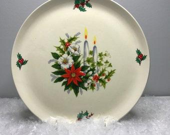 vintage ceramic Christmas holiday tray