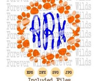 Auburn monogram paw print svg - dxf - eps cut files - cricut - Silhouette Auburn svg - war eagle svg