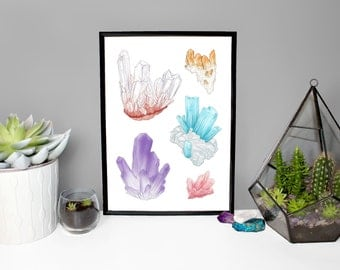 Original Artwork Crystal Print - Quartz - Rose Quartz - Citrine - Amethyst - Aquamarine A4 / A5