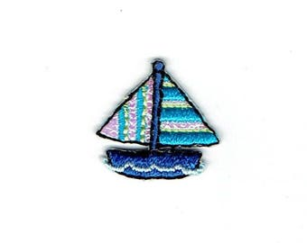 Small/Mini - Sailboat - Blue/Shimmery Stripes - Iron on Applique - Embroidered Patch - 156269-A