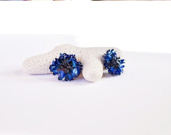 Plant ear studs eco friendly earring, Nature stud, Royal blue stud earrings, Cobalt blue stud earring for her, blue earrings studs Sterling