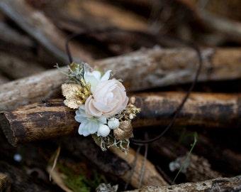 Romantic headband Floral headband Gold Elastic headband Flower headband Vintage headband Retro hair tie Vintage wedding Bridal hairband