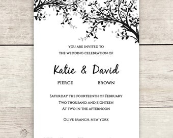 Black and silver Wedding Invitation RSVP and Info Template | Leaves | Editable Wedding template DIY
