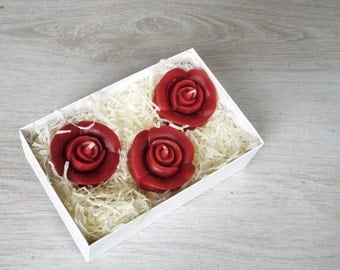 Red Rose, Pure Beeswax Candles, Unscented Candles, Gift Set.
