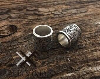 Beast - beard bead - 8.5 mm inner diameter - beard ring with pattern inspired with Viking beast motiffs - silverplated bronze