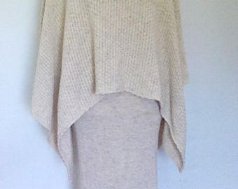 Vintage Poncho cape with matching skirt by Aran Crafts Ireland oatmeal beige skirt poncho- waistcoat vest with matching skirt one size