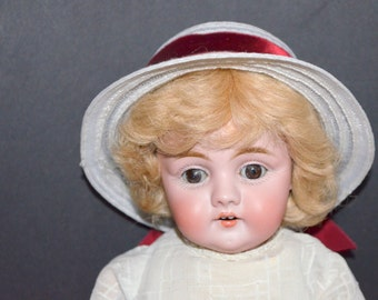 Antique DOLL JD Kestner Character Face Early Mold 143 D8 Bisque Head Composition Body Brown Sleep Eyes German Porcelain Child 15""