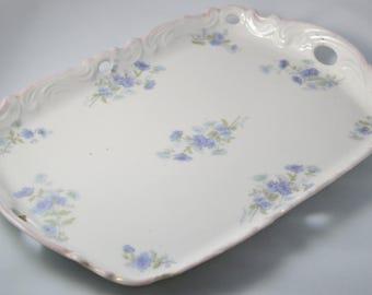 Antique LIMOGES French Porcelain Dresser Tray Vanity Dish Blue Floral Decoration