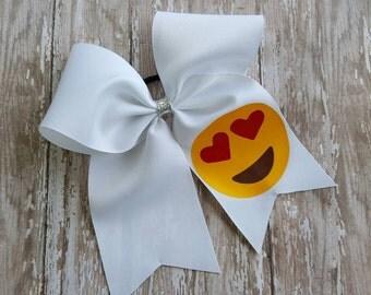 Emoji Cheer Bow... Love... Cheerleader... Teens... Baby Girl