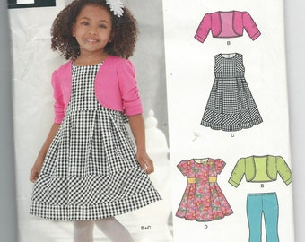 New Look 6259 Girls Dress, Leggings and Jacket Size 3-8 Uncut