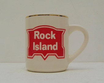 Vintage Rock Island Railway Coffee or Hot Tea Mug; Country Trains Railroad Advertising; FREE SHIPPING U.S.A.