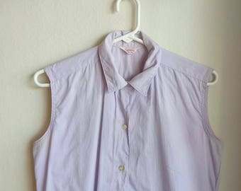 Vintage 1960s Lilac Sleeveless Blouse/60s Blouse/Large