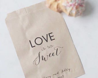Wedding Candy Bar Bags - Personalized Love is sweet favor bags to hold sweets at your next occasion!