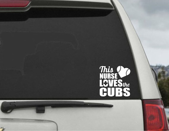 This Nuse Loves The Cubs decal - Car Window Decal Chicago Cubs Sticker