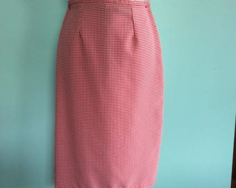 1950s Style Red Pinup Rockabilly Gingham Pencil Wiggle Skirt - Size 10