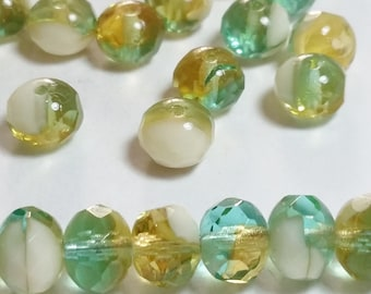 20pcs Rondelle Czech Beads - Amber / Green / Cream - Multicoloured Beads - Glass Beads - Faceted Spacer Beads - 5x7mm - Boho Beads - GB378
