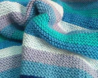 Handmade Baby Knit Blanket - Shades of Blue