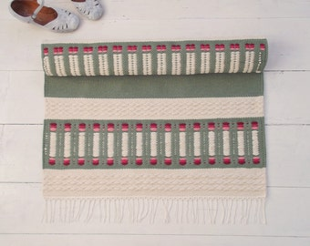 Green and Ivory Cotton Rug with Pink and Red, Green and White Rug, Handmade Rug, Reversible, Woven on the Loom, Made to Order