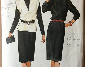 Butterick 6243 - Fast and Easy Pullover Dress with Sleeves V Neck Vest - Size 8 10 12