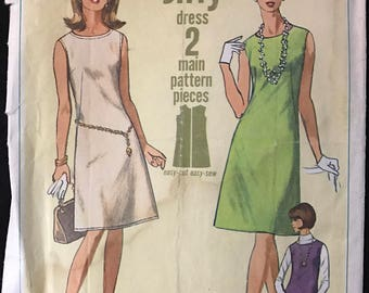 Simplicity 6541 - 1960s Jiffy Sleeveless A Line Dress or Jumper - Size 12 Bust 32