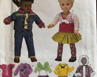"""Simplicity 3873 - Doll Clothes with Button Front Top and Skirt, Pullver Sweathershirt and Pants, Shortwaisted Sweather, and Parka Coat - 18"""""""