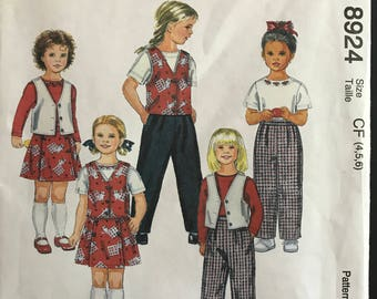 McCalls 8924 - Easy to Sew Child's Vest, Top, Pants, and Skort - Size 4 5 6