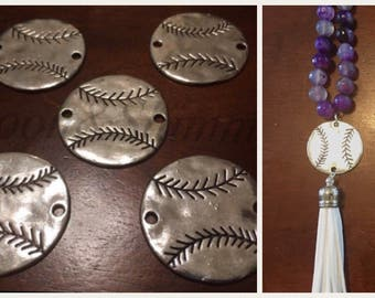 Hammered Metal Baseball connector Beads, silver bangle bead, tassel necklace, baseball jewelry, baseball cap jersey, baseball necklace