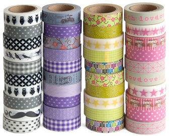 Bright  mixed multi coloured 2 rolls of washi tape, paper tape for craft projects, fathers day craft projects washi tape, Scrapbooking washi
