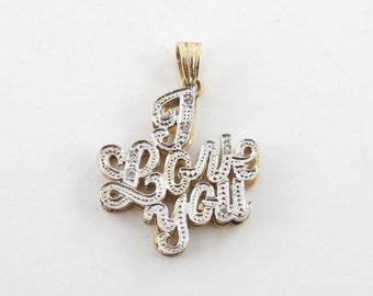 14k Yellow And  White Gold Diamond I Love You Pendant