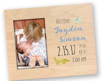 Newborn Baby Photo Frame - Custom Wood Photo Frame - Personalized Birth Announcement Picture Frame - Baby Name and Stats Frame