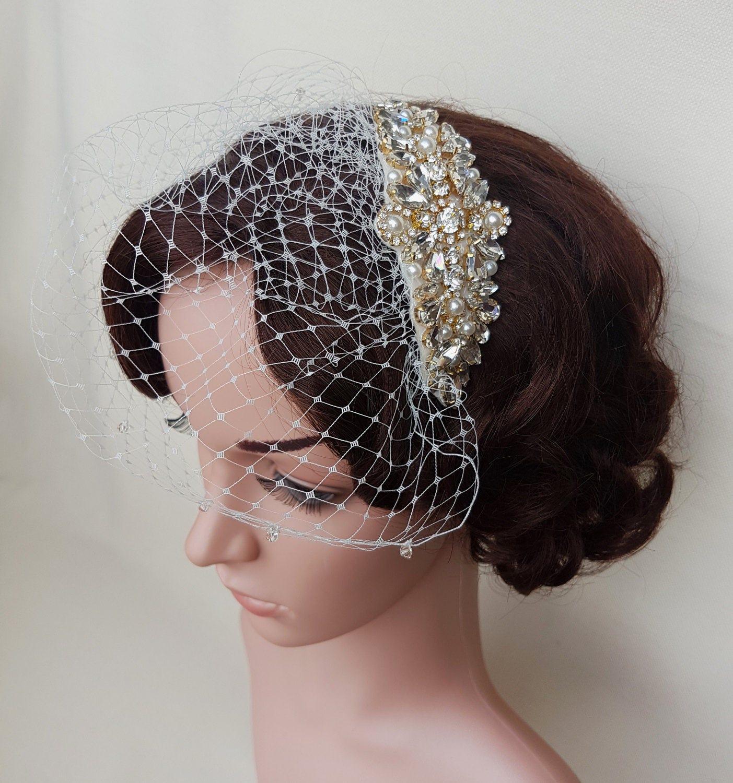Gold Birdcage Rose Bridal Veil Small Wedding