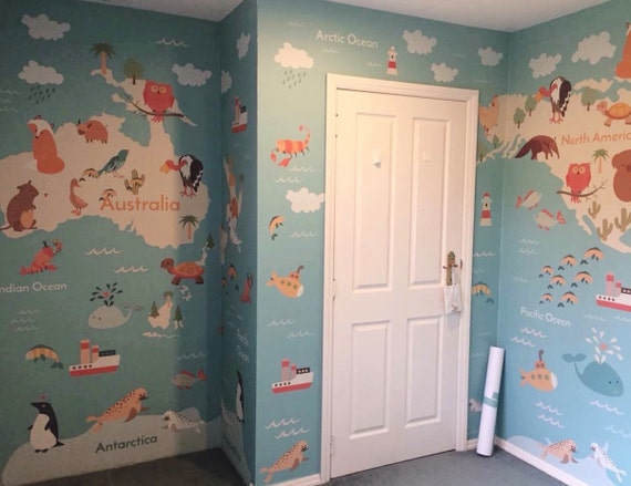 Removable wallpaper world map wallpaper kids wallpaper like this item gumiabroncs Choice Image