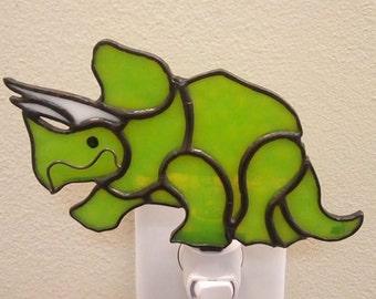 Stained Glass Triceratops Dinosaur Night Light