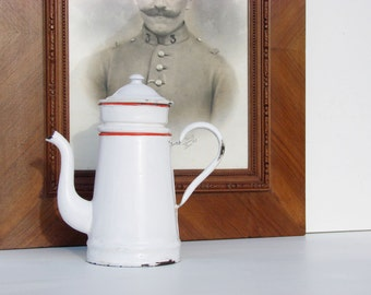 Antique French white and red enamel coffee pot jug from the 1920's circa enamelware