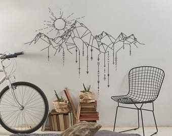 Geometric Mountains & Sun Wall Decal - Mountain Decal, Geometric Decal, Arrows Wall Decals, Sun Decal, Modern Wall Decal, Mountains Nursery