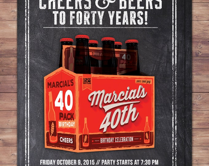 ANY AGE, Cheers and Beers invitation, beer, 21st, 30th, 40th, 50th, 60th, 70th, Surprise Birthday Party Invitation, adult birthday, cheers,