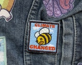 Climate Changed Science is Real Resist iron on embroidered bee patch