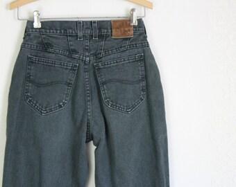 90s Black Faded Mom Jeans // Vintage Lee High Waist High Rise Denim Pants // Waist: 27