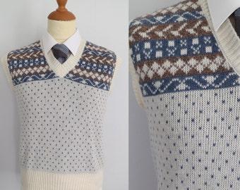 Mens sweater vest tank top, v neck, blue & cream, french vintage, sleeveless jumper
