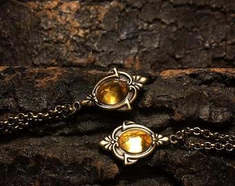 Aria - Antique Gold Citrine Necklace, Citrine Necklace, Citrine Choker, Vintage Citrine Necklace Citrine Pendant, Gothic pendant