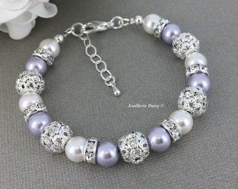 Swarovski Pearl Bracelet, Lavender Bracelet, Bridesmaid Bracelet, Bridesmaids Gift on a budget, Purple Pearl Bracelet, Rhinestones Bracelet