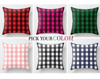Buffalo Check Pillow, Checkered Cushion Cover, Box Check Decorative Pillow Case, Black Green Blue, 16x16 18x18 20x20, Plaid Throw Pillow