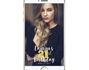 Snapchat Geofilter Birthday, Snapchat Birthday Geofilter, 21st Birthday, Gift for Her, Birthday Filter, Gold, Personalized filter 016